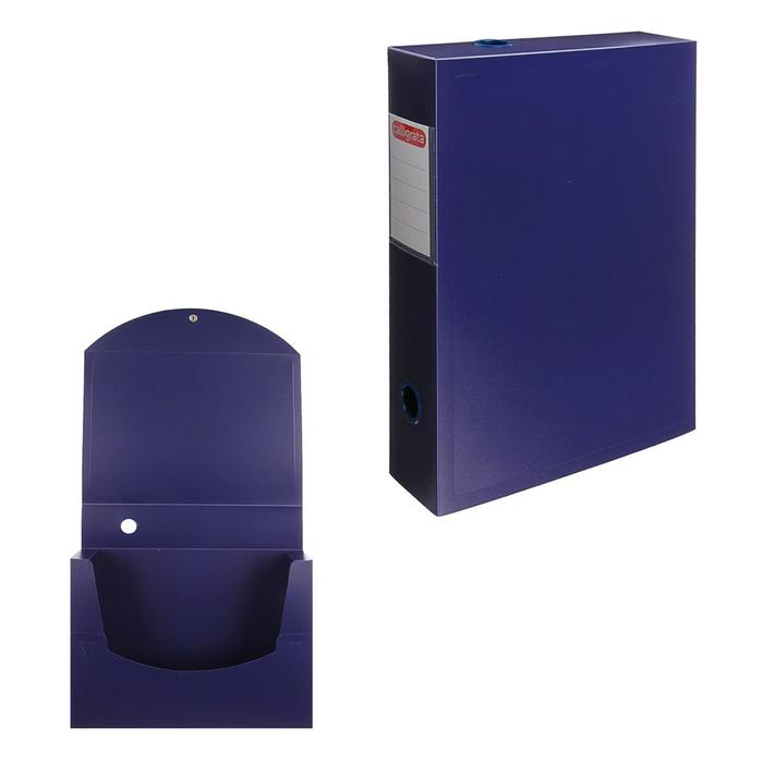 Короб архивный А4 на кнопке разборный, 70 мм пластик, 800 мкм Calligrata, синий - фото 689409545