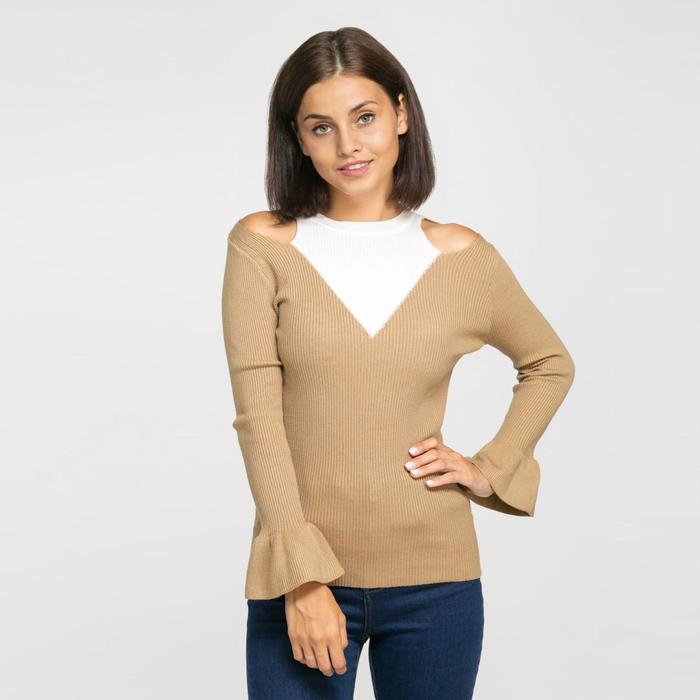 Джемпер вязаный с открытыми плечами, размер 42, цвет коричневый