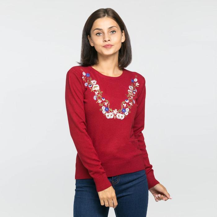 Джемпер вязаный V-вышивка, размер 42, цвет бордо