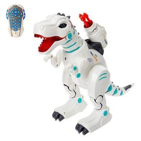 """Робот-динозавр радиоуправляемый """"Годзилла"""", выдыхает пар, стреляет ракетами, световые эффекты, английская озвучка, работает от аккумулятора"""