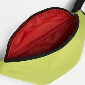 Сумка поясная, отдел на молнии, регулируемый ремень, цвет салатовый - фото 65705