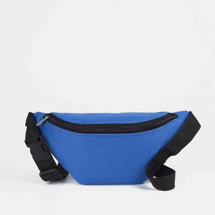 Сумка поясная, отдел на молнии, регулируемый ремень, цвет голубой