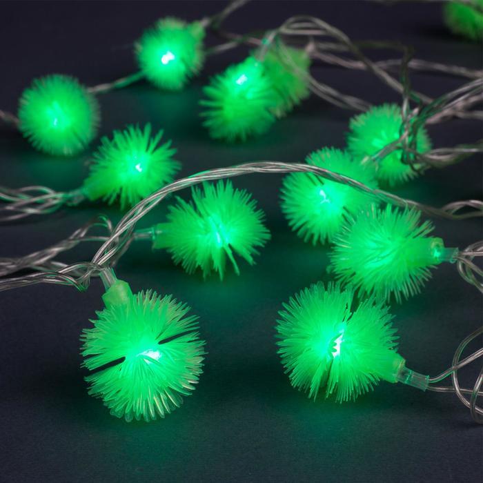 """Гирлянда """"Нить"""" 5 м с насадками """"Ёжики зелёные"""", IP20, прозрачная нить, 30 LED, свечение зелёное, 8 режимов, 220 В"""