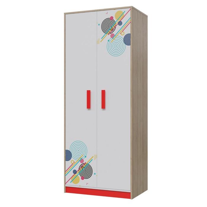 Шкаф для одежды Фантазия, 800х520х1995, Дуб ривьера/Бело-Красный
