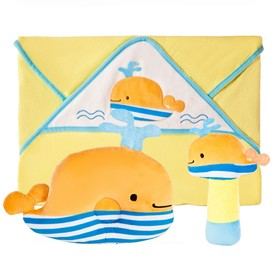 Подарочный набор «Веселый кит» полотенце, погремушка и подушка