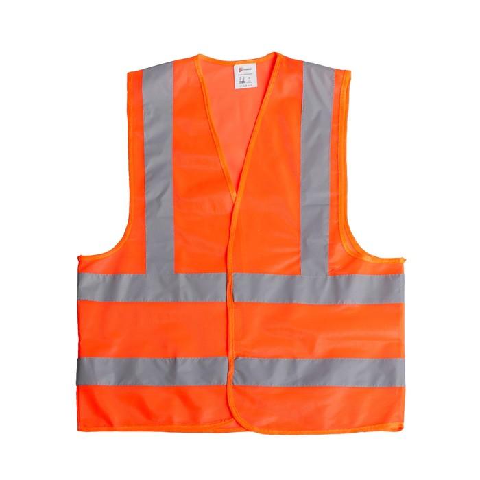 Жилет сигнальный, светоотражающий, оранжевый, 3 класс, размер 2XL, гост, усиленный