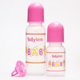Набор детский, 3 предмета: бутылочки для кормления 125 и 250 мл, пустышка силиконовая ортодонтическая, от 0 мес., цвет розовый