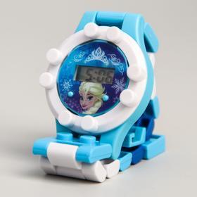 Часы наручные лего, Холодное сердце, с ремешком-конструктором