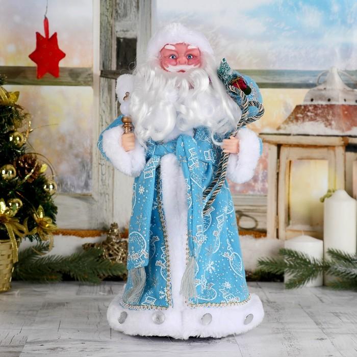 """Дед Мороз """"В синей шубке с подарками"""" , русская мелодия  38 см"""
