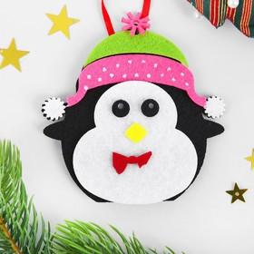 Набор для творчества - создай ёлочное украшение из фетра «Пингвин в шапочке»