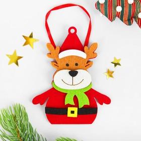 Набор для творчества - создай ёлочное украшение из фетра «Новогодний олень в шарфике»