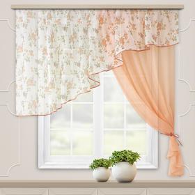 Комплект штор для кухни «Византия» 280х160 см, цвет персиковый, правая