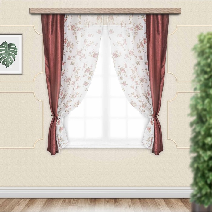 Комплект штор для кухни «Романтика», 290х165 см, цвет шоколад