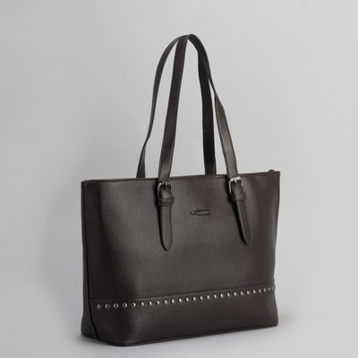 Bag, Department, partition with zip, outside pocket, brown color
