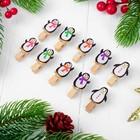 """Набор для фото и декора """"Пингвины"""", в наборе прищепки 10 шт., верёвка — 100 см"""