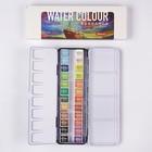 Краски акварельные, 24 цвета, в кюветах, в металлическом пенале с палитрой, с держателем
