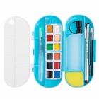 Краски акварельные Superior, профессиональные, 12 цветов, в кюветах, с палитрой, кистью, ручкой, 2 губки,емкость для воды