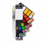 Краски акварельные Superior, профессиональные, 33 цвета палитра, цветовая карта, с кистью