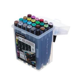 Набор маркеров Superior Tinge, профессиональные, двусторонние, чёрный корпус, 24 шт., 24 цвета, MS-818