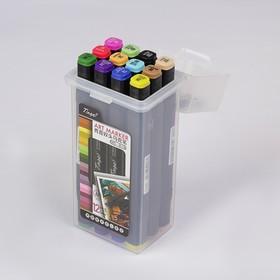 Набор маркеров Superior Tinge, профессиональные, двусторонние, чёрный корпус, 12 шт., 12 цветов, MS-818