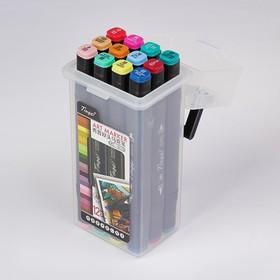 Набор маркеров Superior Tinge, профессиональные, двусторонние, чёрный корпус, 12 шт.,12 цветов, MS-818