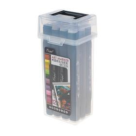 Набор маркеров Superior Tinge, профессиональные, двусторонние, чёрный корпус, 12 штук, 12 цветов, тёплые серые, MS-818