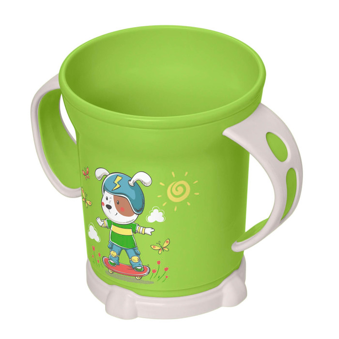 Кружка детская с декором, 270 мл, цвет зелёный