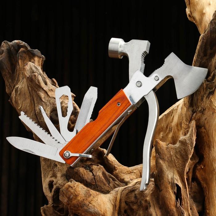 Инструмент многофункциональный 8в1 в чехле, рукоять дерево