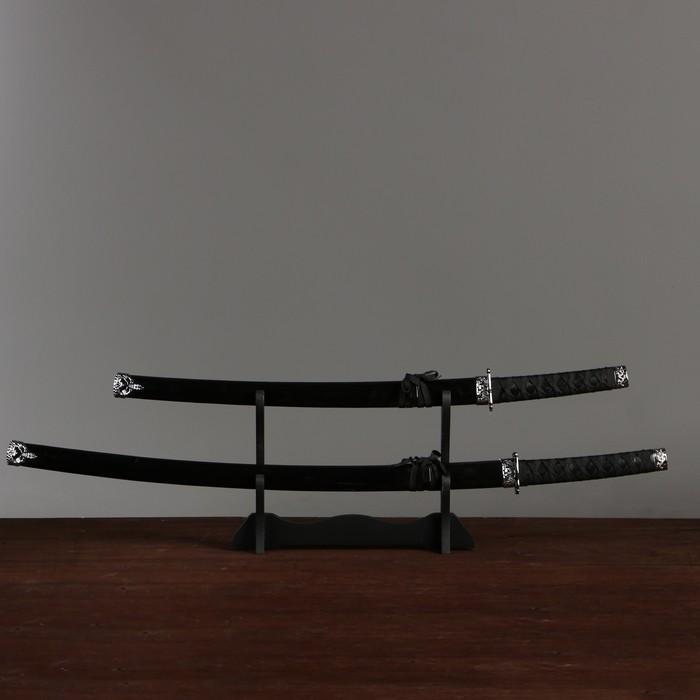 Сув. изделие катаны 2в1 на подставке, ножны дерево, черные глянец 78/99см - фото 8875942