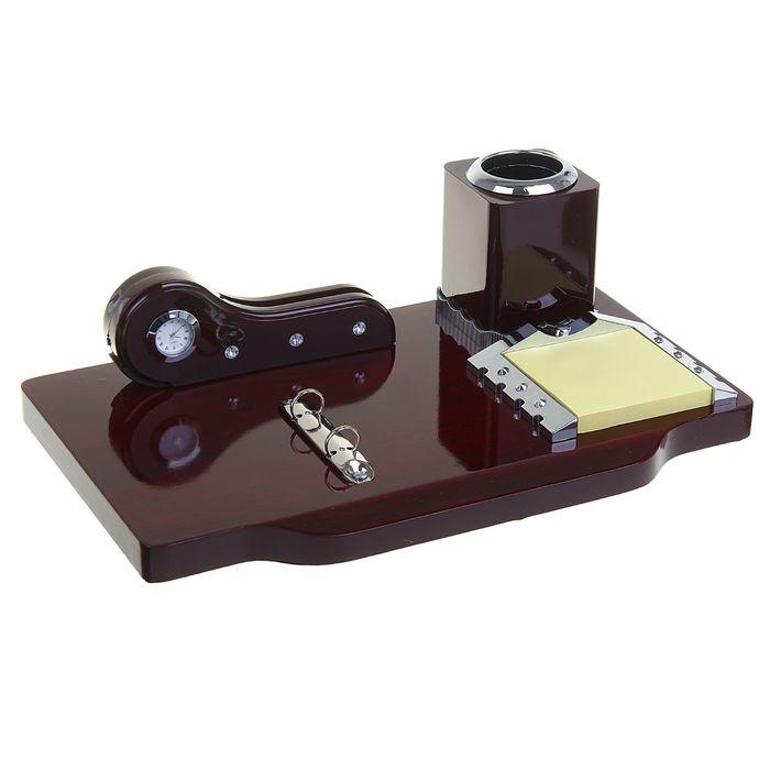 Набор настольный: часы, визитница, блок для бумаги, держатель, подставка для ручек