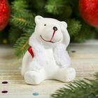 """Сувенир керамика """"Белый медвежонок в жилетке"""" 7,2х5,5х5,8 см"""