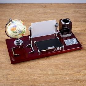Набор настольный 5в1 (глобус,подст. п/ручки,подст.д/бумаг, фоторамка,скреп) микс