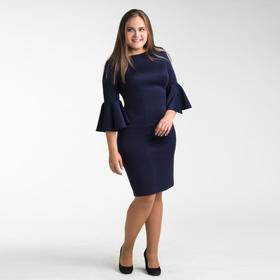 Платье женское футляр с расклешенными рукавами, размер 48, цвет тёмно-синий