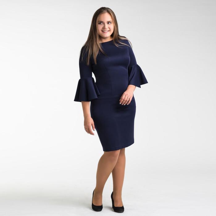 Платье женское футляр с расклешенными рукавами, размер 48, цвет тёмно-синий - фото 725428261