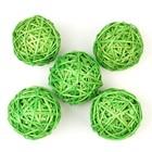 Шар из лозы, набор 5 шт, 6 см,светло-зелёный