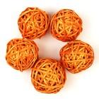Шар из лозы, набор 5 шт, 6 см,оранжевый