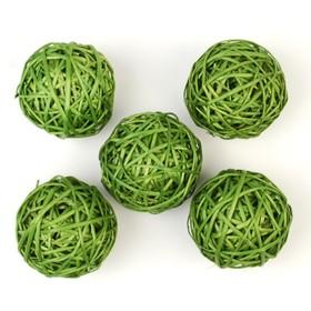 Шар из лозы, набор 5 шт, 10 см,зелёный