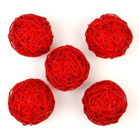 Шар из лозы, набор 5 шт, 10 см,красный