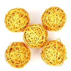 Шар из лозы, набор 5 шт, 10 см,жёлтый