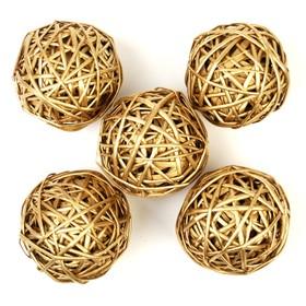 Шар из лозы, набор 5 шт, 10 см,золотой
