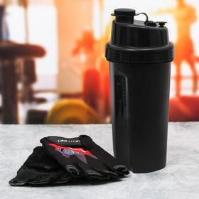 Набор для тренировок «01»: шейкер 600 мл, перчатки 9 × 15 см
