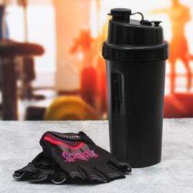 Набор для тренировок «Спорт»: шейкер 600 мл, перчатки 10 × 15 см