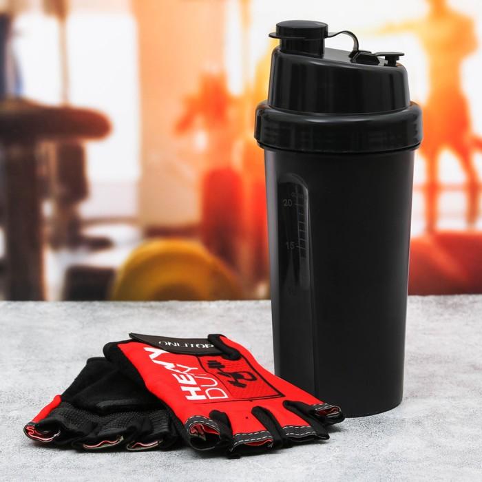 Набор для тренировок «Сильный»: шейкер 600 мл, перчатки 11 × 15 см