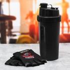 Набор для тренировок «Go hard»: шейкер 600 мл, перчатки 10 × 15 см - фото 229138