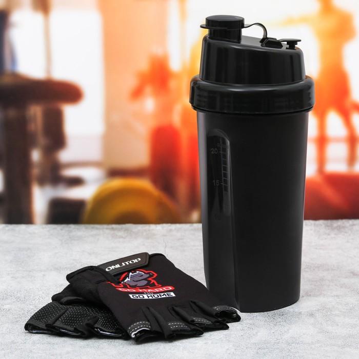 Набор для тренировок «Go hard»: шейкер 600 мл, перчатки 11 × 15 см - фото 229144