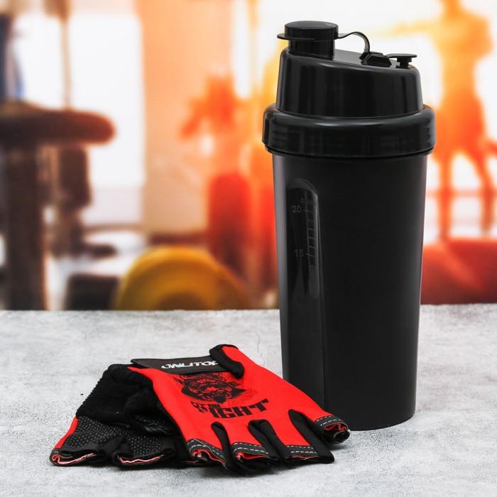 Набор для тренировок «Fit or fight»: шейкер 600 мл, перчатки 11 × 15 см - фото 798063508