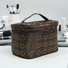 Cosmetic bag-trunk, division zipper, mirror, color brown