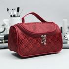 Косметичка-сумка «Сердца», отдел на молнии, зеркало, цвет бордовый