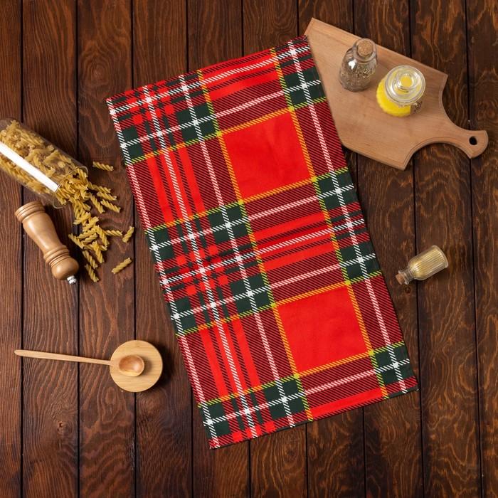 Полотенце «Этель» Шотландка, 35х65 +-2см на петельке, саржа, 100% хлопок