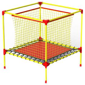 Батут-манеж Leco-IT Home, 100 х 100 см, с внутренней защитной сеткой, жёлтый/красный